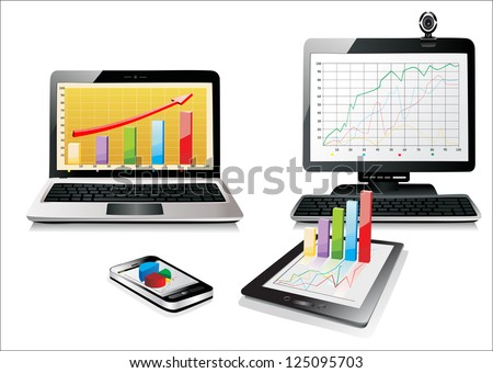 Computer, Laptop Tablet and Phone with business graph . Set of Computer Devices - stock vector