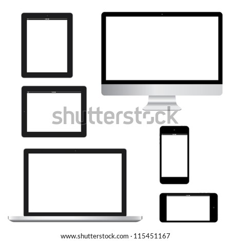 Computer laptop tablet phone gadget isolated eps10 vector - stock vector