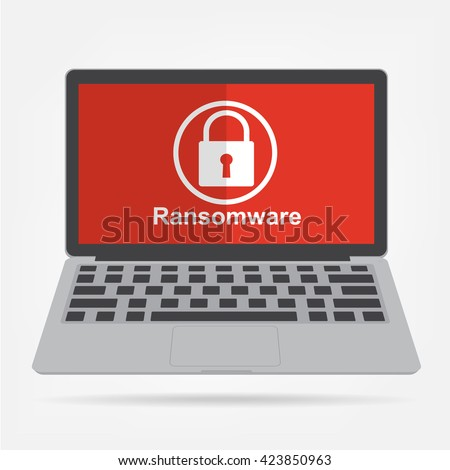 Computer laptop with ransomware malware virus key icon on red display background. Vector illustration technology data privacy and security concept. - stock vector