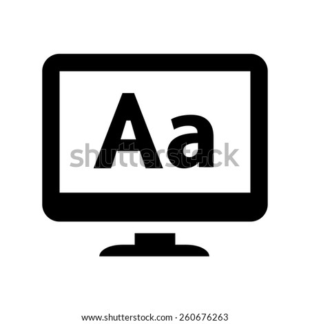 Computer LCD display with letters icon - stock vector