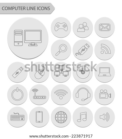 Computer line icons.vector - stock vector