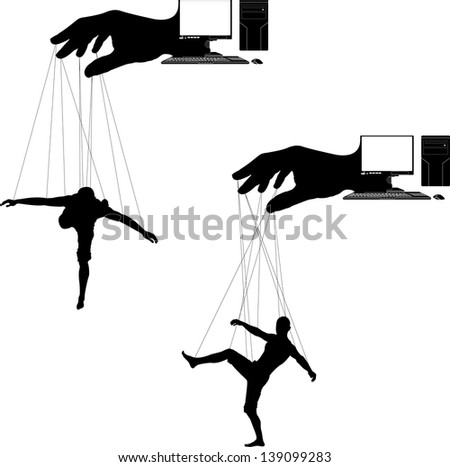 computer marionettes. second variant - stock vector