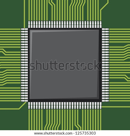 computer microchip (electronic component) - stock vector