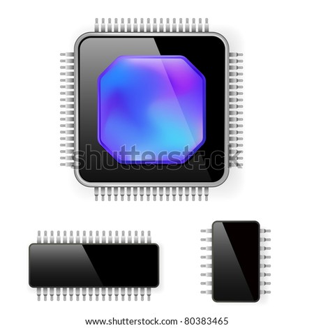Computer microcircuit. Illustration on white background for design - stock vector