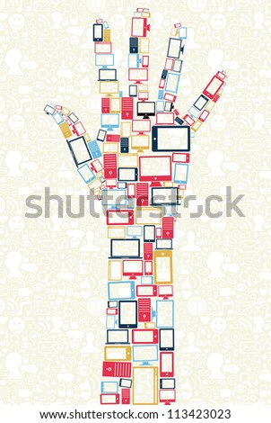 Computer, mobile phone and tablet colors icons in human hand shape over social media backgroun. Vector illustration layered for easy manipulation and custom coloring. - stock vector