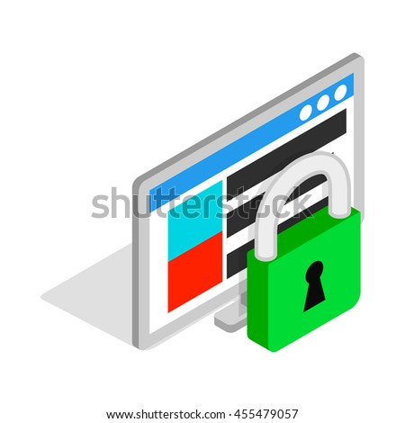 Computer monitor and padlock icon in isometric 3d style on a white background - stock vector