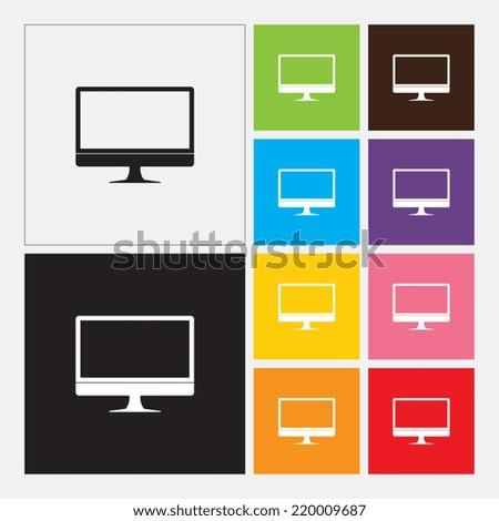 Computer monitor icon - Vector - stock vector
