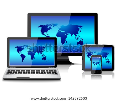 Computer monitor, laptop, tablet pc, and mobile smartphone with world map - stock vector