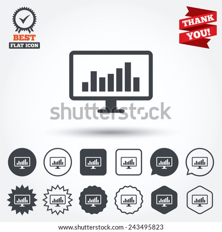 Computer monitor sign icon. Market monitoring. Circle, star, speech bubble and square buttons. Award medal with check mark. Thank you ribbon. Vector - stock vector