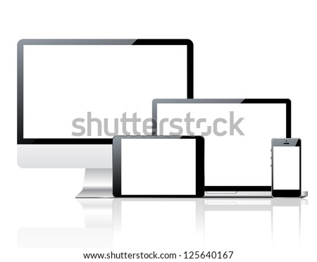 Computer monitor, smartphone, laptop and tablet pc - stock vector