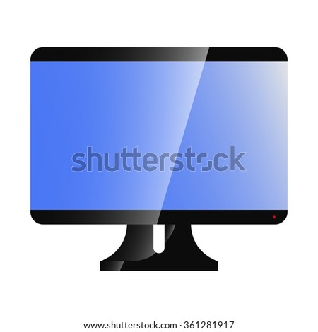 Computer monitor with a blue screen. Wide, vector, illustration. TV - stock vector