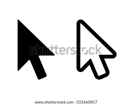 Computer mouse click pointer cursor arrow flat icon for apps and websites - stock vector
