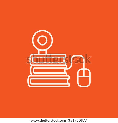 Computer mouse connected to a stack of books with webcam on it line icon for web, mobile and infographics. Vector white icon isolated on red background. - stock vector