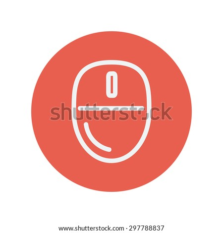 Computer mouse thin line icon for web and mobile minimalistic flat design. Vector white icon inside the red circle. - stock vector
