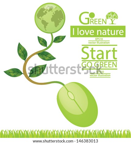 Computer mouse. Tree design. Go green. Save world. vector illustration. - stock vector