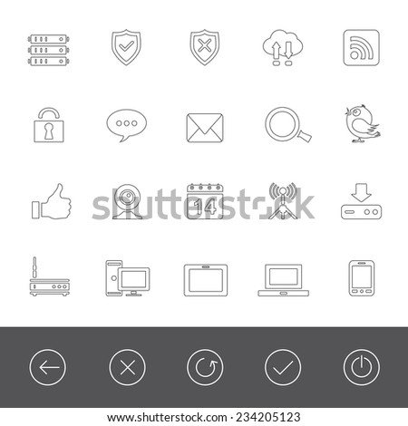 Computer network and social media icons - stock vector