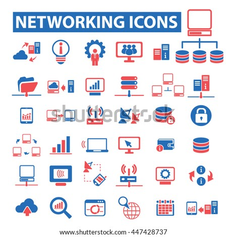 computer network, connection, communication, link, internet, online, phone, hosting, system administration, router, laptop, tower, antenna, equipment, lan, broadcasting, technology icons, signs vector - stock vector