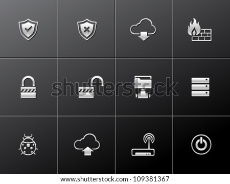 Computer network icon series in metallic style - stock vector