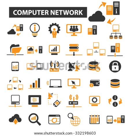 computer network, technology, connection icon & sign concept vector set for infographics, website - stock vector