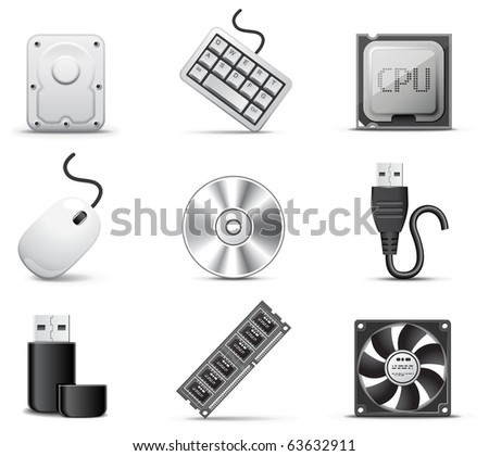 Computer parts | B&W series - stock vector