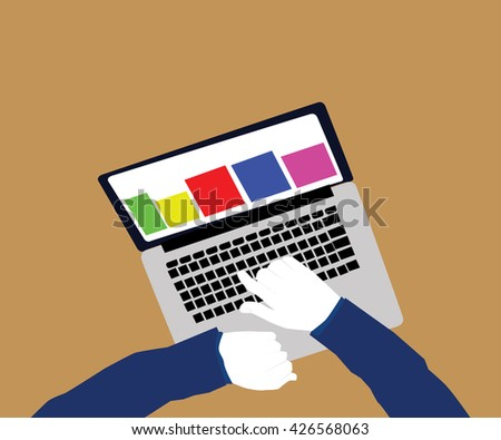 Computer press. Hands typing computer. Above view hands pushing buttons of laptop. Working in the computer. Worker typing on laptop keypad. Hand pressing computer keyboard. - stock vector