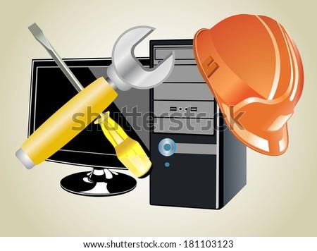 Computer repair - stock vector