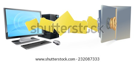 Computer safe secure transfer backup concept of files moving from computer to safe.  - stock vector