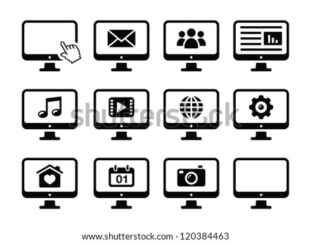 Computer screen black icons set - stock vector