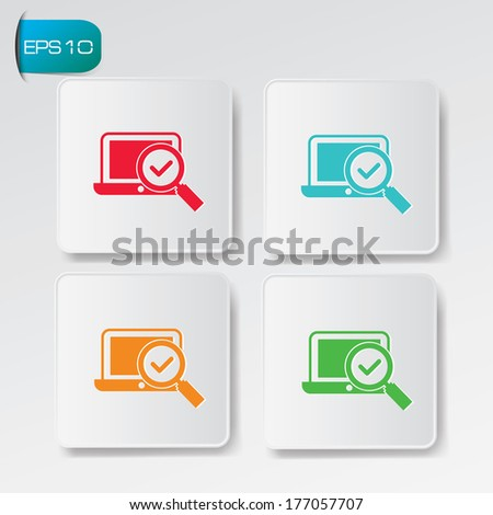 Computer,searching buttons,vector - stock vector