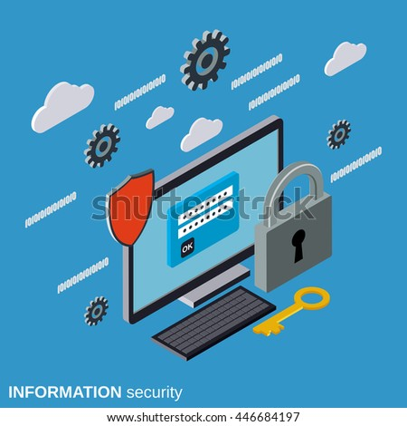 Computer security, access control, data protection flat isometric vector concept illustration - stock vector