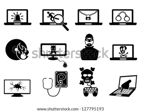 computer security and Cyber Thief icons - stock vector