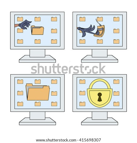 Computer security icons set 2 - stock vector