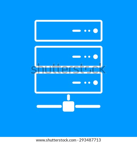 Computer Server icon, flat design. Vector EPS 10 - stock vector
