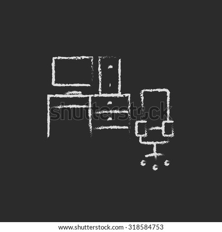 Computer set with table and chair hand drawn in chalk on a blackboard vector white icon isolated on a black background. - stock vector