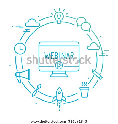 Computer Surrounded by Outline Social Icons. Webinar, Webcast, Livestream, Online Event Illustration - stock vector