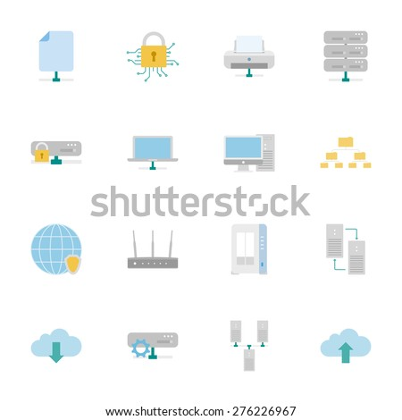 Computer Systems and Networks color flat icons set vector graphic illustration  - stock vector