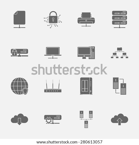 Computer Systems and Networks silhouettes icons set vector graphic illustration  - stock vector