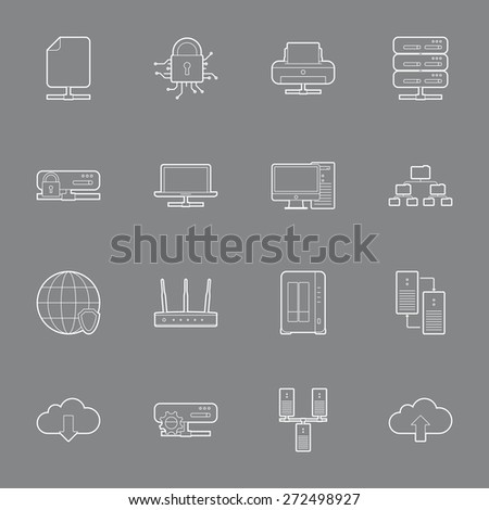 Computer Systems and Networks thin lines icons set vector graphic illustration  - stock vector