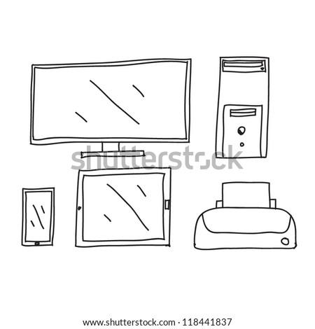 computer ,tablet ,phone,printer Drawing - stock vector