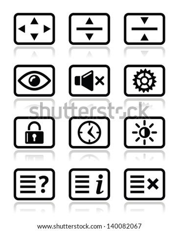 Computer tv monitor screen icons set - stock vector