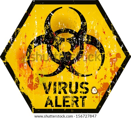 computer virus alert sign, vector illustration - stock vector