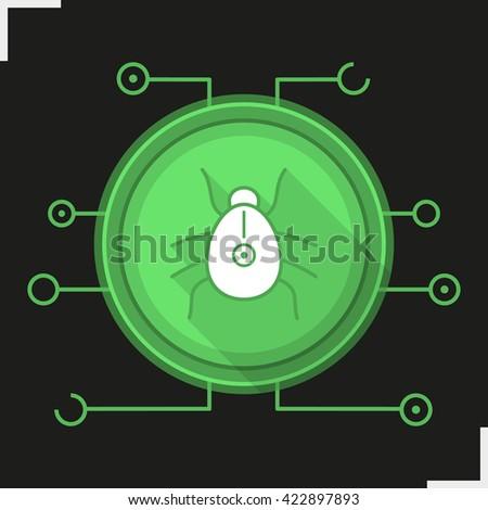 Computer virus flat design long shadow icon. Malware and spyware bug symbol. Vector - stock vector