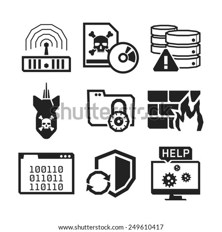 Computer Virus protection icons set // BW Black & White - stock vector