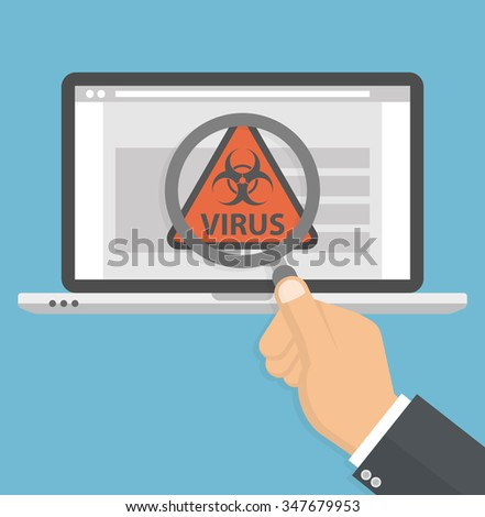 Computer virus search concept. Hand holding magnifying glass over a laptop with biohazard symbol and virus text on the screen. Flat style - stock vector
