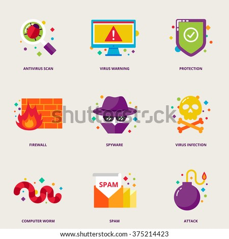 Computer virus vector icons set: antivirus scan, warning, protection, firewall, spyware, infection, worm, spam, attack - stock vector
