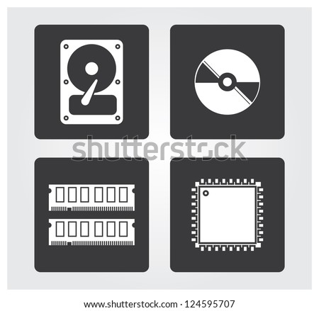 Computer web icons: drives and components - stock vector