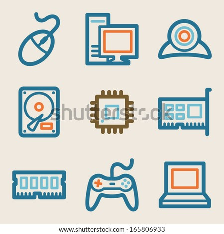 Computer web icons, vintage series - stock vector