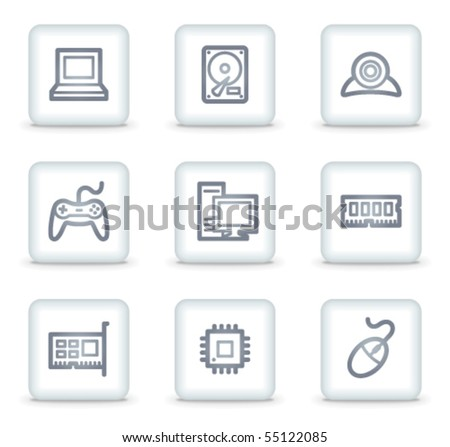 Computer web icons, white square buttons - stock vector