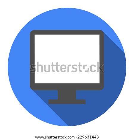 Computer widescreen monitor sign icon. White flat icon with long shadow.  - stock vector