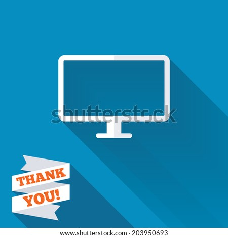 Computer widescreen monitor sign icon. White flat icon with long shadow. Paper ribbon label with Thank you text. Vector - stock vector